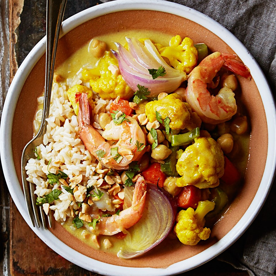 Curried Shrimp with Cauliflower and Chickpeas