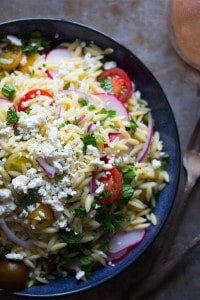 Herbed Orzo Pasta Salad with Tomatoes & Feta