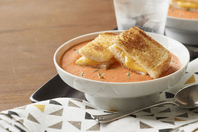 Tomato-Basil Soup with Grilled Cheese