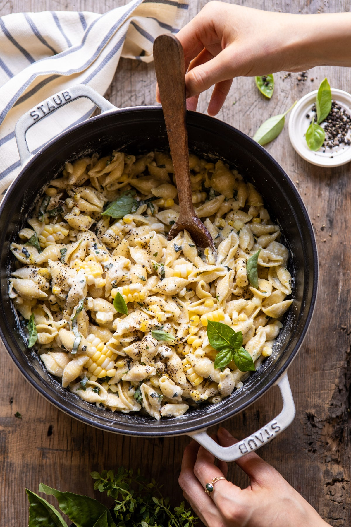 One Pot Lemon Basil, Corn, and Ricotta Pasta.