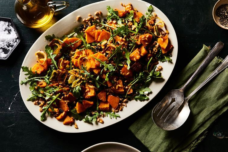 Roasted Butternut Squash & Toasted Farro Salad with Curried BrownButter